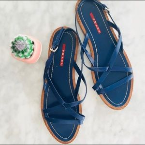 PRADA Sandal Blue Leather X-Strap 40 Flats